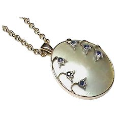 Antique Victorian 15k 15ct Gold Sapphire & Pearl Pendant on 9k 9ct Chain