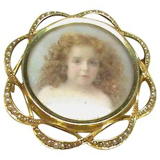 Large Antique Victorian 15k 15ct Gold Seed Pearl Miniature of Girl Locket Brooch / Pendant in box