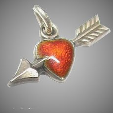 Tiny Vintage Silver 800 Red Enamel Heart Charm
