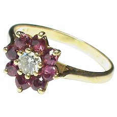 Vintage 18k 18ct Gold Ruby & Diamond Ring