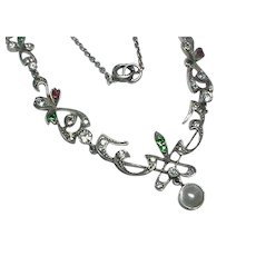 Antique Art Nouveau Sterling Silver Paste Necklace