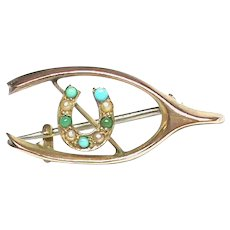 Small Antique 9k 9ct Gold Seed Pearl & Turquoise Lucky Wishbone Horseshoe Brooch