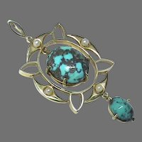 Antique Arts & Crafts 15k 15ct Gold Turquoise & Pearl Pendant