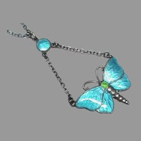 Antique Edwardian 1910 Sterling Silver Enamel Butterfly Pendant Necklace by Charles Horner