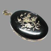 Large Antique Victorian Sterling Silver gilt Black Enamel Seed Pearl Locket