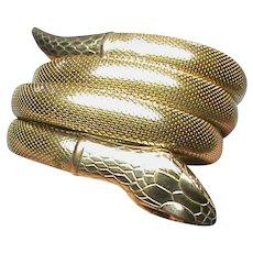 Stunning Vintage Art Deco Gold Fill SNAKE Bangle