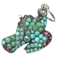 Antique Victorian Sterling Silver Turquoise Bird small Pendant Charm