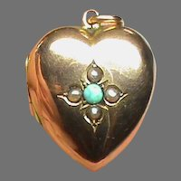 Antique Edwardian 1905 9k 9ct Gold Turquoise Seed Pearl HEART Locket Pendant