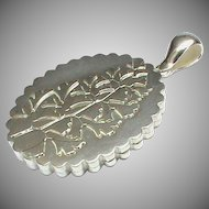 Large Antique Victorian 1881 Sterling Silver Locket Pendant