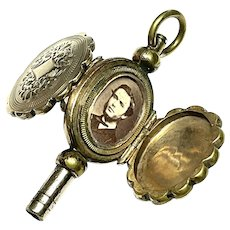 Antique Victorian 9k 9ct Gold Back & Front Double Sided Family Locket Watch Key