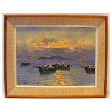 Nino Baldini Oil Painting of Italian Fishermen at Sunset