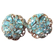 Original by Robert clip back turquoise rhinestone clip earrings