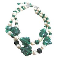 "Two strand Faux Pearl necklace with poured green glass beads and leaves 14"" long plus 3"" extension"