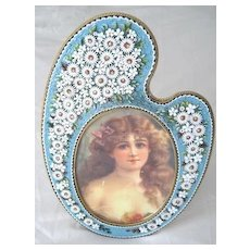 "Impressive 9"" tall Italian Micro Mosaic picture frame in the shape of an easel"