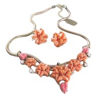 Gold filled Snake chain with sliding coral grouping celluloid carved hibiscus flowers plus matching earrings