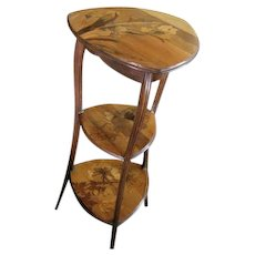 RARE French ART NOUVEAU signed GALLE' mixed EXOTIC inlay wood three tier Plant Stand