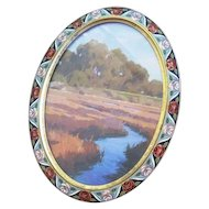 Exceptional oval shaped Enamel Roses decorated picture frame with easel back signed Le Trianon Habana