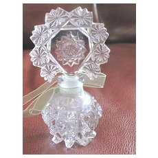Nice pressed glass perfume bottle with fancy top