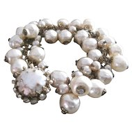 Signed Vintage Miriam Haskell all simulated pearl bracelet