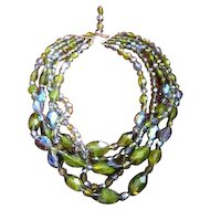 Vintage Czech five strand multi glass Crystal Necklace in olivine vitreal