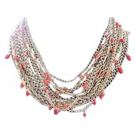 Reinad multi faux gold chain choker studded with coral