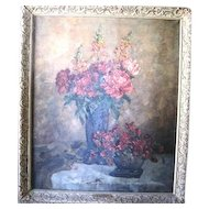 Vintage Still Life oil painting of flowers called Voice of Spring by listed artist Marie Weger