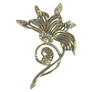 Classic Boucher clematis flower leaf and stem pin made in two parts