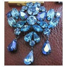 Regency multi blue rhinestone dangle pin
