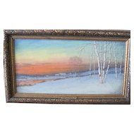 Gulbrand Sether oil on canvas Landscape called Hour of Sunset in Norway Listed Artist