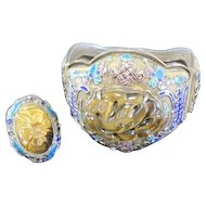 Chinese filagree wedding set of filagree cuff bracelet and ring with Tiger eye carved centers and heavy enameled trim