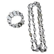 "Art Deco cut crystal and onyx beaded 32"" necklace and matching three tier crystal bracelet"