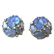Trifari carved blue glass and rhinestone gold washed base metal clip earrings