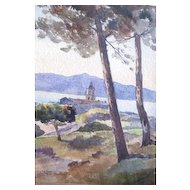 Lovely Watercolor Landscape By Sonoma County pioneer Walter Maurice Kessel featuring a hilltop church Circa 1929