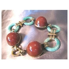 Exquisite ART DECO period linked dome shaped carnelian and jade bracelet set in German rolled gold