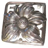 Lush heavy vintage Sterling Silver floral pin made in high relief with fine craftsmanship