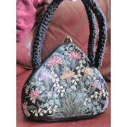 Vintage English Waldybag hand painted handbag made of black silk covered in flowers using crushed glass beads