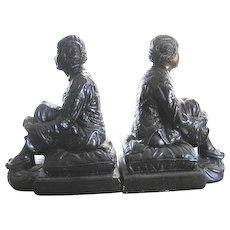 RARE Bronzed chalk Chinese maiden BOOKENDS signed by Leon Fighiera (1881-1938) - Red Tag Sale Item