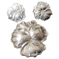 Pretty for Spring STERLING silver PANSIES set PIN and stud EARRINGS