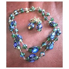 Vintage Vendome set of necklace and earrings in peacock colors of iridescent blue, green and purple