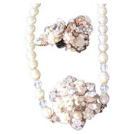 Set of simulated pearl, crystal and rhinestone necklace with matching clip earrings