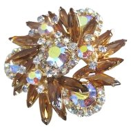 Amber multi tone and shape rhinestone pin lots of sparkle