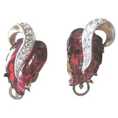 Signed Marvella red glass leaves clip earrings with rhinestone trimmed branch