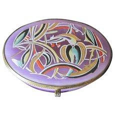 Art Nouveau Lavender oval porcelain jewel box with decorative enameled top