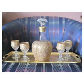 Paden City Glass decanter and five port glasses plus gold porcelain service tray