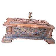 Nice Arts and Crafts period folk art wood box