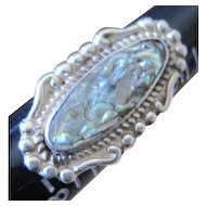 Nice Vintage sterling silver Mexican ring size 7 bezel set with abalone shell
