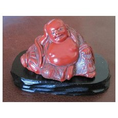 Chinese Cinnabar Lacquer Buddha figurine carving on teak wood stand