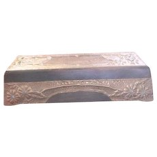 Art Nouveau period wood Glove Box enrobed in decorative vines flowers jewels