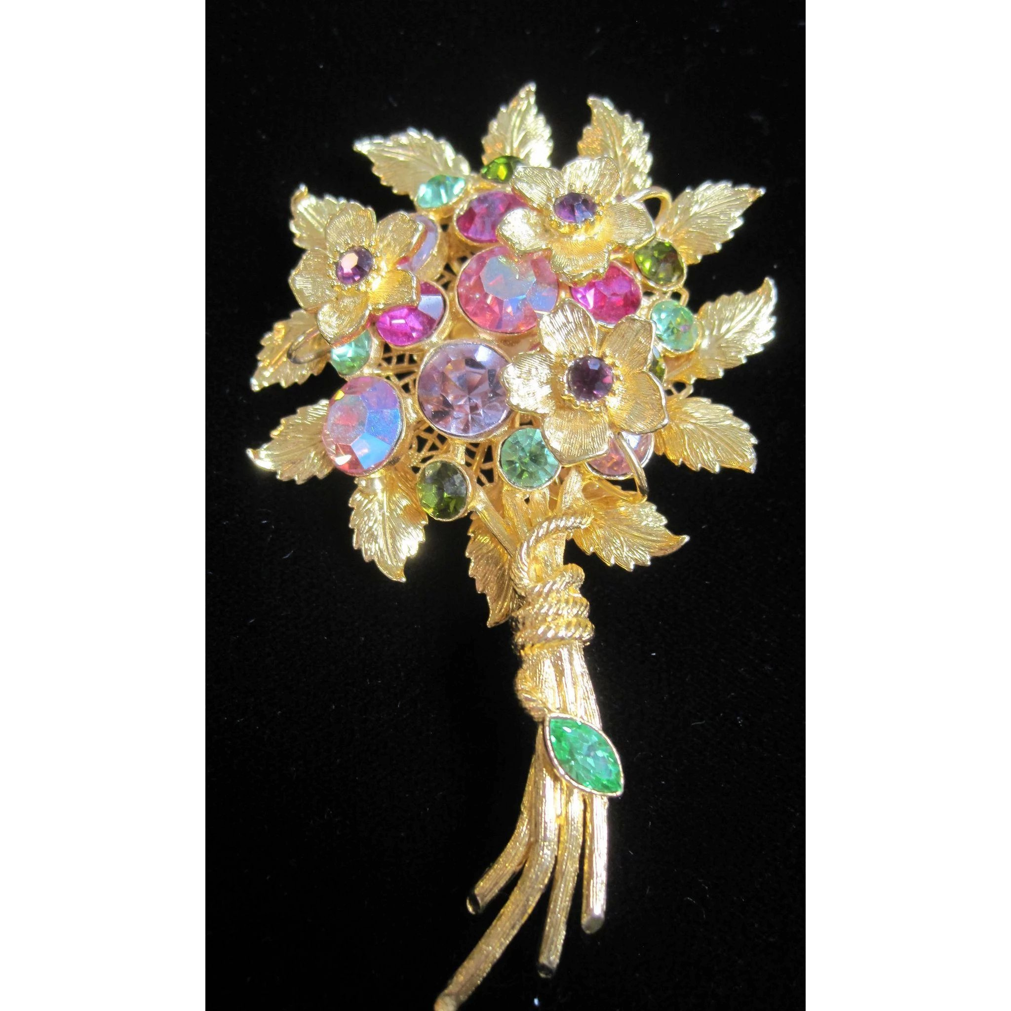 Costume Jewelry Bouquet Of Flowers Pin With Multi Colored