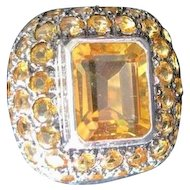 Vintage costume jewelry sterling ring with large natural citrine center surrounded by smaller round citrines